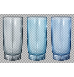 Three transparent glass vector