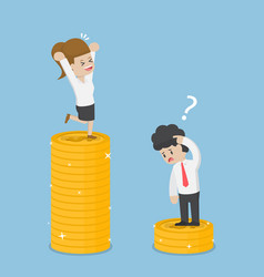 businesswoman have a lot of money than businessman vector image