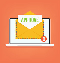 Open envelop with approve email vector