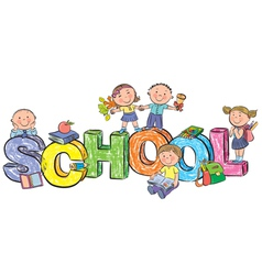 Word school and funny children vector image