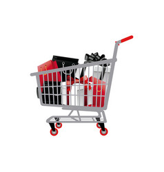 Shopping cart full of shopping bags and gift boxes vector