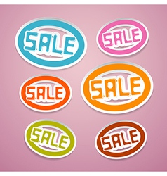 Oval paper sale titles on pink background vector