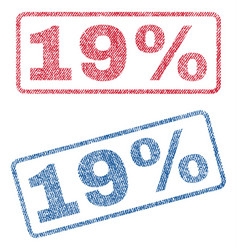 19 percent textile stamps vector