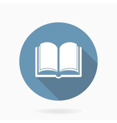 Book icon with flat design blue and white vector
