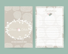 Vintage wedding invitation set design template vector