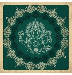 Indian god elephant ganesha vintage card vector
