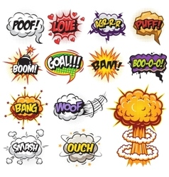 Set of comics speach and explosion bubbles vector