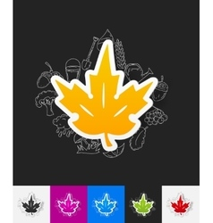 Leaf paper sticker with hand drawn elements vector