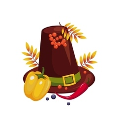 Thanksgiving day hat and vegetables vector