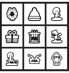 Set of flat icons in black and white christmas vector