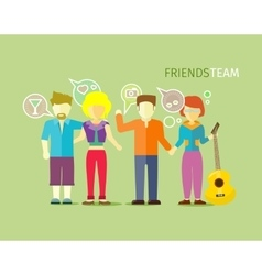 Friends team people group flat style vector