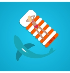 Tanned girl shark flat vector