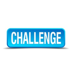 Challenge blue 3d realistic square isolated button vector