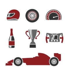Car race icons set helmet wheel tire vector
