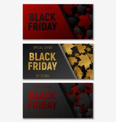 black friday sale web horizontal banners set vector image vector image