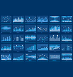 Business data financial charts blue banner vector