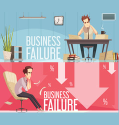 Business failure 2 retro cartoon posters vector