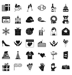 celebration icons set simple style vector image