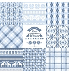 Christmas and new year set plaid and ornamental vector
