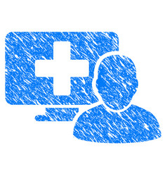 computer doctor grunge icon vector image