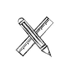 Figure ruler and pencil school tool education vector