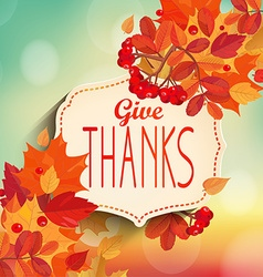 Give thanks autumn background vector image vector image