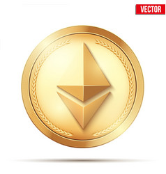 Gold coin with ethereum sign vector