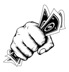 Hand fist with cash vector