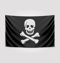 hanging pirate flag vector image vector image