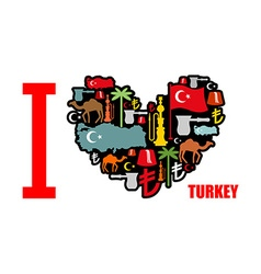 I love Turkey Sign heart of traditional Turkish vector image