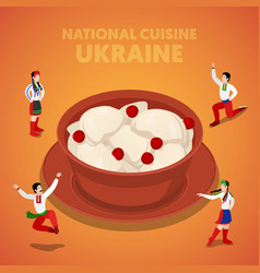 Isometric ukraine national cuisine with vareniki vector