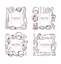 kitchen elements frames and place for your text vector image