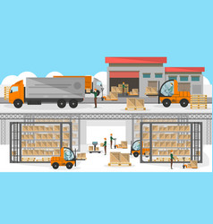 loading process in storehouse banner vector image vector image