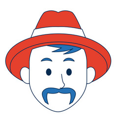 man with hat character face avatar male vector image