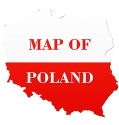 Map of poland with national flag vector