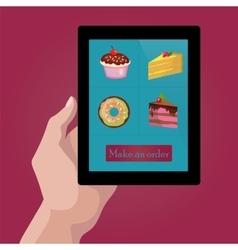 Online order sweets and cookies via internet vector
