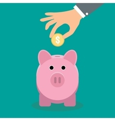 Piggy bank and hand with coin vector
