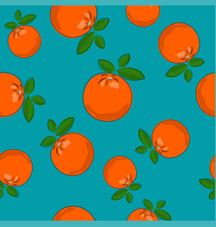 Seamless pattern orange on azure background vector