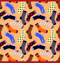 seamless pattern with socks isolated on background vector image