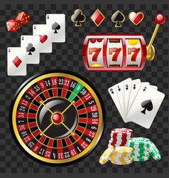 Set of casino objects - modern realistic vector