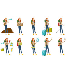 set with traveler characters vector image vector image