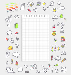 sheet of paper with icons on vector image vector image