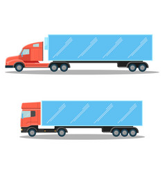 Trucks with small cubic and spacious oblong shapes vector