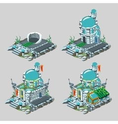 Underwater castle construction process in 4 icons vector