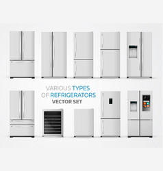 variable types of refrigerators realistic set on vector image