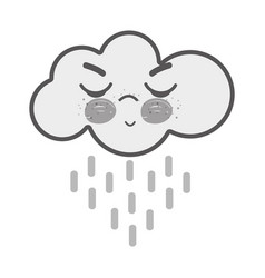 White kawaii raining cloud angry with close eyes vector