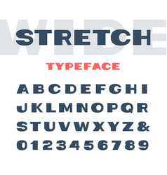 wide font alphabet with stretch effect letters vector image