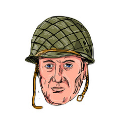 World war two american soldier head drawing vector
