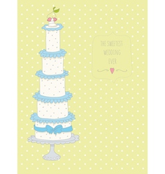 Cute wedding invitation card with a dots backgroun vector