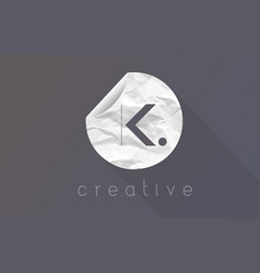 k letter logo with crumpled and torn wrapping vector image